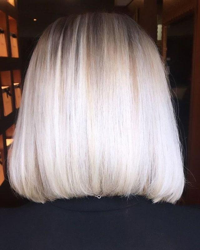 med length straight blonde hair